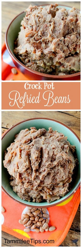 Super easy Homemade Crock Pot Refried Beans Recipe! Perfect for Mexican night, taco night, or burritos! This slow cooker recipe makes family dinners quick and easy to prepare!