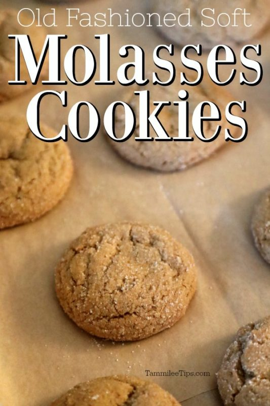 Old Fashioned Soft Molasses Cookies on parchment paper