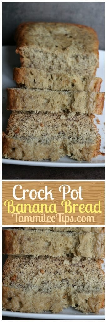 Easy Crock Pot Banana Bread Recipe! No need to heat up the house with the oven! The best, moist, delicious Banana Bread!