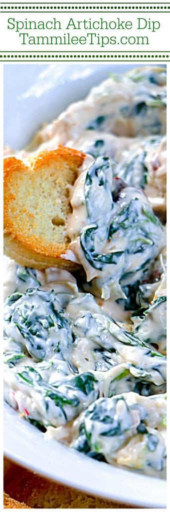 Easy Creamy Spinach Artichoke Dip Recipe perfect for Super Bowl Football Parties, Labor Day parties, and more! So tasty and easy to make!