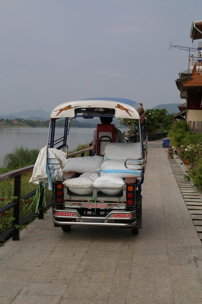 Chaing Khan Thailand tuk tuk along the Mekong River