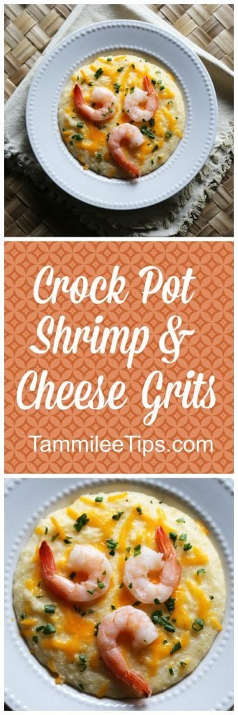 Super easy Crock Pot Shrimp and Cheese Grits Recipe! This southern slow cooker family meal is perfect for dinner or breakfast!