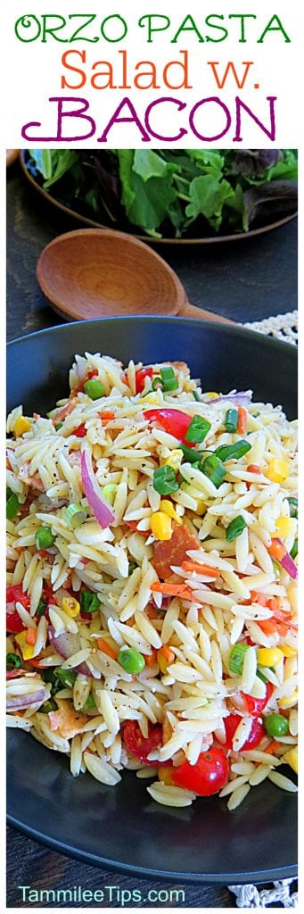 Easy Cold Orzo Pasta Salad with Bacon & Parmesan Vinaigrette Recipe! This is a great healthy side dish to bring to a party. Great for lunches, family meals, side dishes and easy picnic ideas.