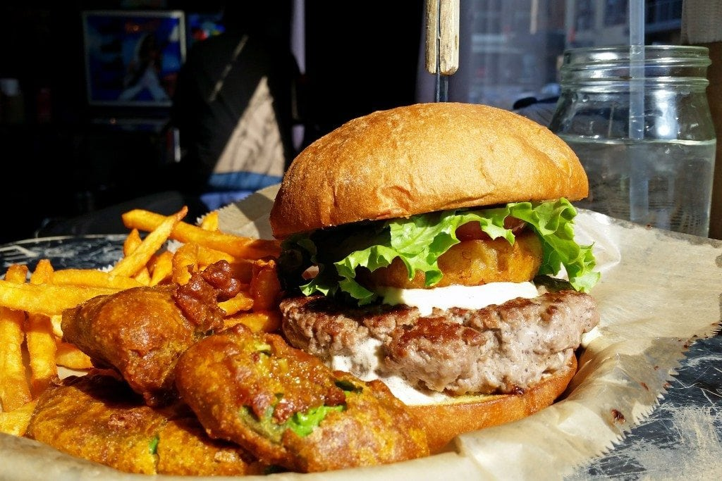 Stella's burger with deep fried avacados