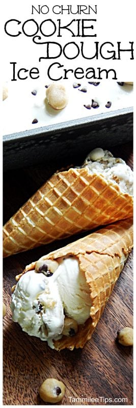 Easy Homemade No Churn Chocolate Chip Cookie dough Ice Cream Recipe is the perfect dessert recipe for summer or any day of the week!