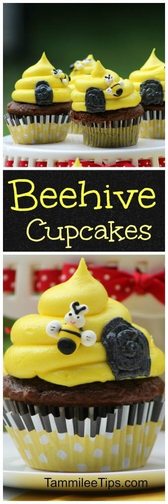 Easy DIY Bumble Bee Hive Cupcake Recipes perfect for Spring, baby showers, birthday parties, or just any day you need a sweet treat cupcake recipe.