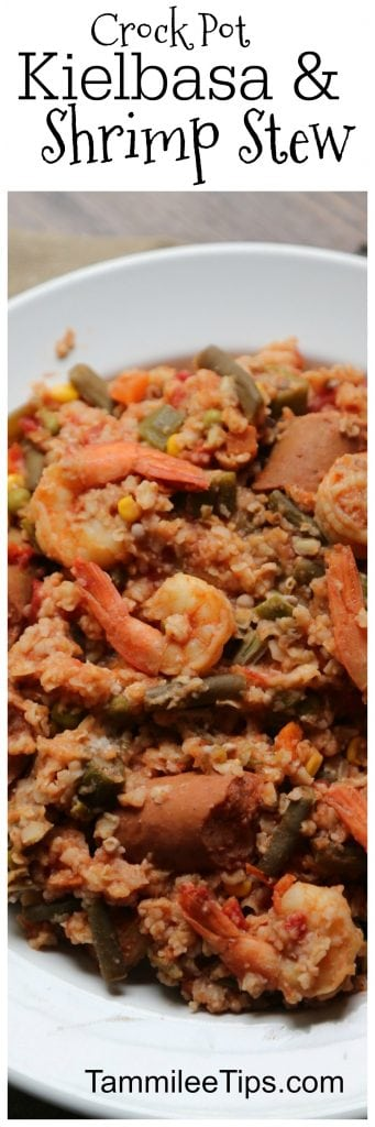 Crock Pot Kielbasa Sausage and Shrimp Stew also known as Cajun Shrimp Stew Recipe. The slow cooker does the work and you have an amazing Louisiana Inspired meal!