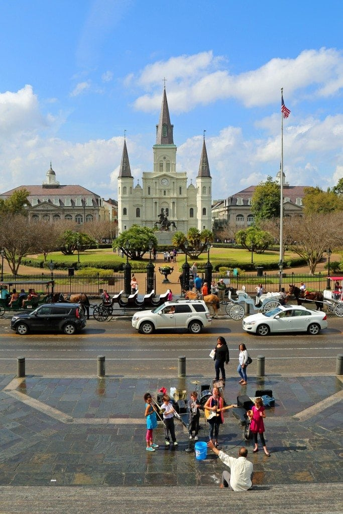 Random band playing in front of Jackson Square New Orleans