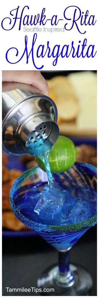 Hawk-A-Rita blue margarita recipes Seattle Seahawks football inspired cocktail! So easy to make and perfect for a super bowl football party! Friends will love cheering with these drinks!