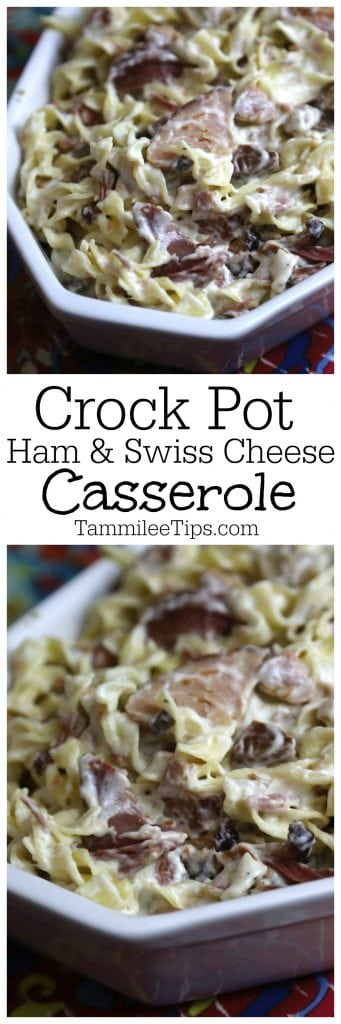Slow Cooker Crockpot Ham and Swiss Cheese Casserole Recipe. The perfect comfort food family dinner! This crock pot dinner recipe is so easy to make.