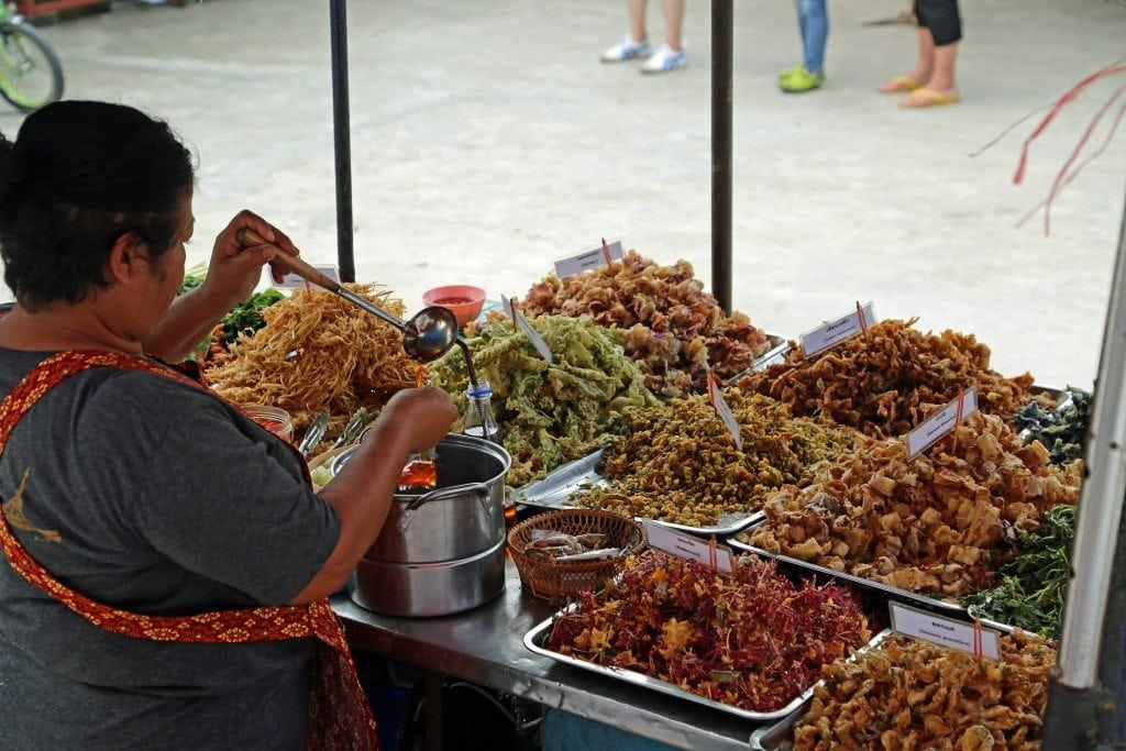 lots of food prepared at Sunday Market Thailand