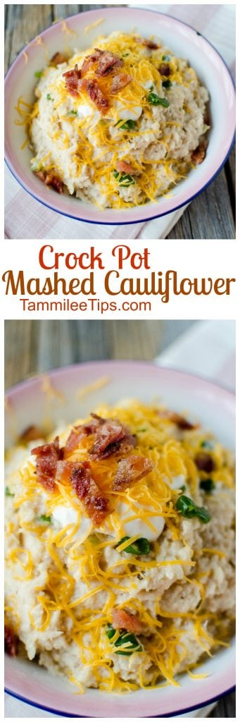 Easy recipe for Crock Pot Mashed Cauliflower loaded with garlic and cheese. You can leave the cheese off to make a healthy version if you like. This slow cooker comfort food is the perfect side dish for Thanksgiving, Christmas or a family dinner.