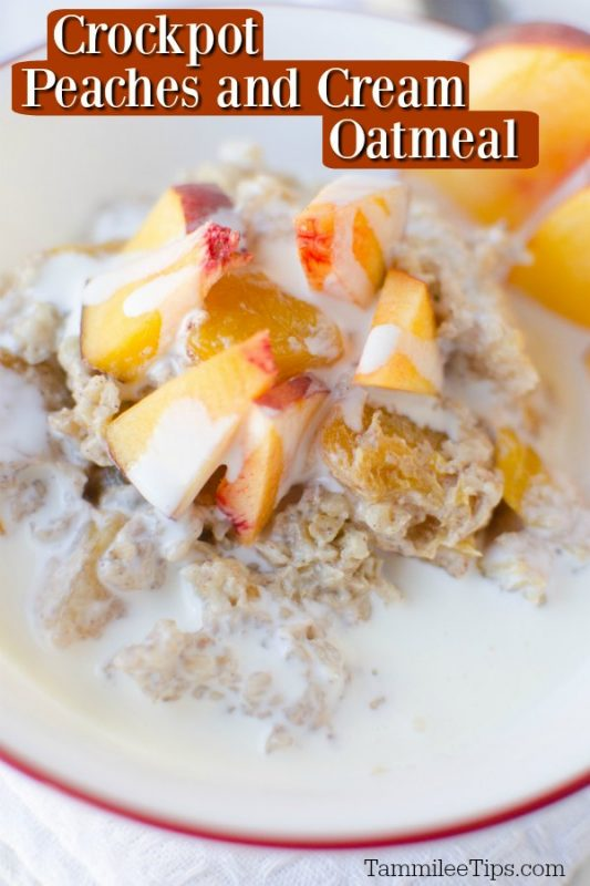 Close up image of crockpot peaches and cream oatmeal recipe in a white bowl with red rim