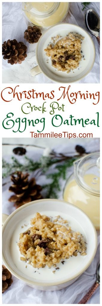 Perfect for Christmas morning Crock Pot Eggnog Oatmeal! Made with steel cut oats the slow cooker does all the work! Save yourself holiday stress and make this overnight oats recipe!