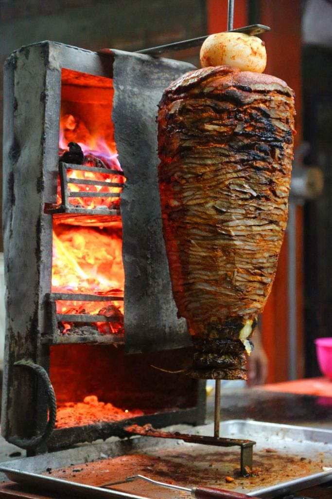 taco-meat-cooking-on-taco-tour-puerto-vallarta-mexico