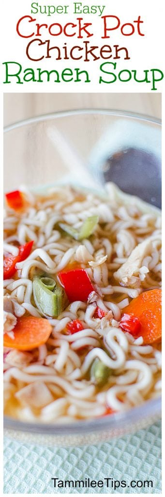 Easy Crock Pot Chicken Ramen Recipe is the perfect comfort food! The slow cooker does all the work!