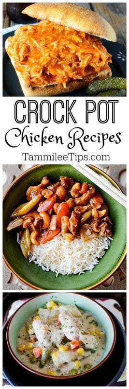 Huge list of crock pot chicken recipes your family will love. From appetizers, soups and entrees including comfort food and family favorites.