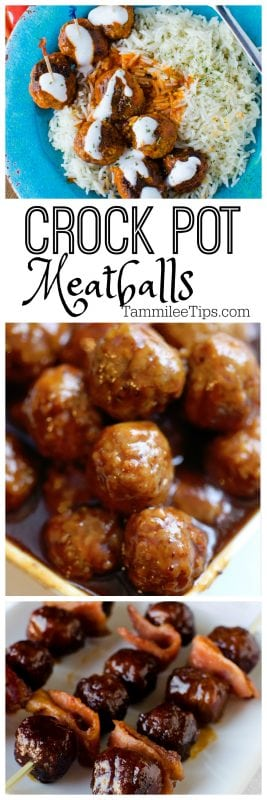 Crock Pot Meatballs Recipes perfect for football parties, holiday parties or family dinner. Super easy to make in the slow cooker.