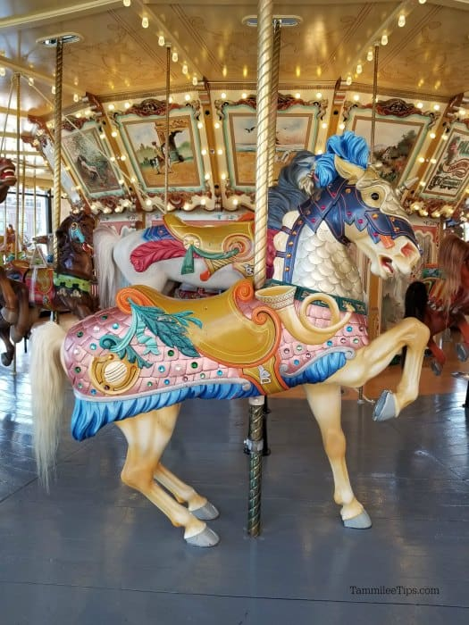 Horse carousel with decorative designs part of the 1928 Spillman Carousel