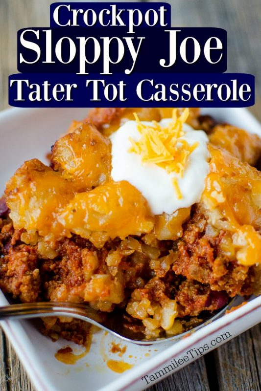 Sloppy Joes Tater Tot Casserole with sour cream on top on a white plate