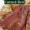 crockpot guinness corned beef and cabbage on a white plate
