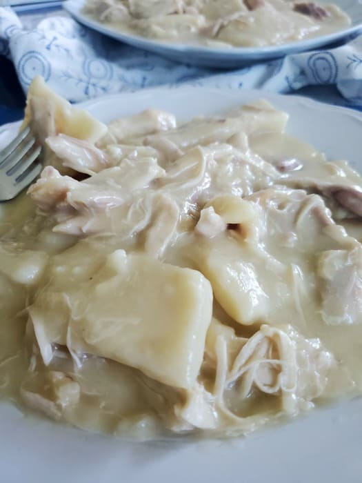 Cracker Barrel Chicken and Dumplings Recipe on a white plate